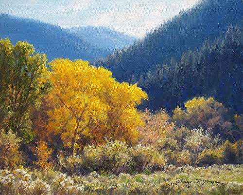 Fall mountain landscape oil painting by William Hagerman
