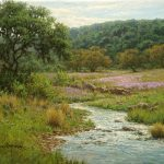 Texas hill country oil painting with stream and flowers by William Hagerman
