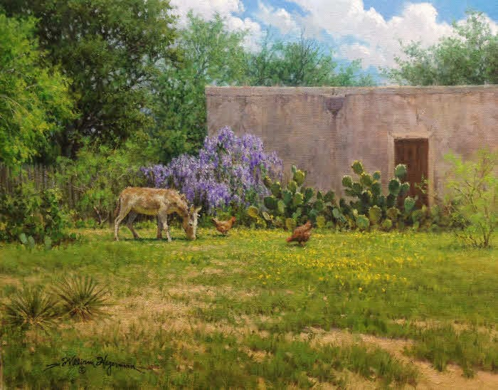 landscape oil painting with donkey chickens wisteria and old building by William Hagerman