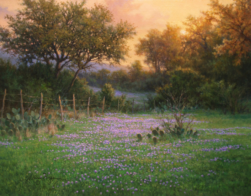 realistic Texas landscape oil painting sunset verbena wildflowers by William Hagerman
