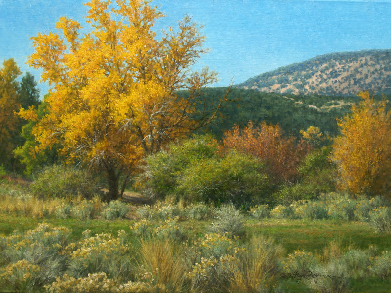 realistic landscape oil painting New Mexico autumn by William Hagerman