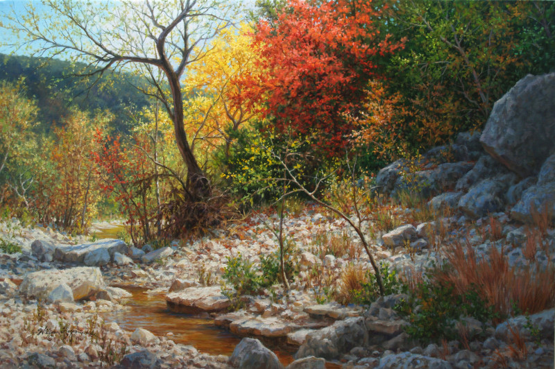 realistic landscape oil painting autumn red tree stream by William Hagerman