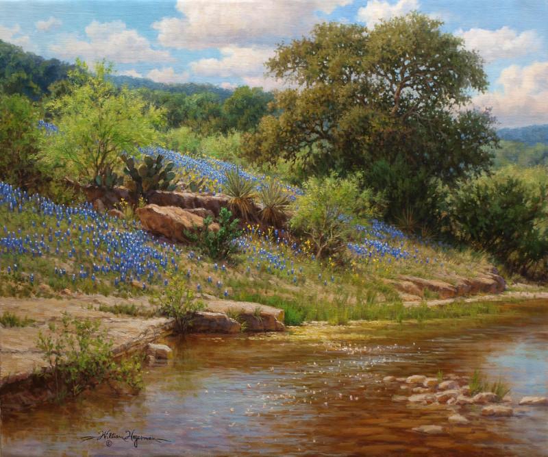 realistic landscape oil painting bluebonnets oak tree stream by William Hagerman