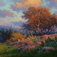 impressionist sunset oil painting by Byron
