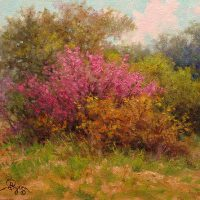 impressionist landscape oil painting of redbud tree by Byron