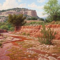 West Texas landscape oil painting caprock dry wash by William Hagerman
