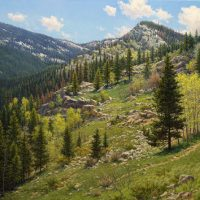 realistic Colorado mountain landscape oil painting by William Hagerman