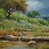 impressionist landscape oil painting bluebonnets and stream by Byron