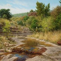 realistic Texas landscape oil painting with stream by William Hagerman