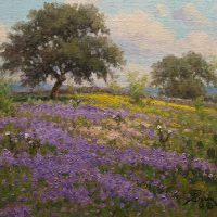 impressionist landscape oil painting of Verbena field by Byron