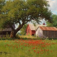 landscape oil painting red barn by Wiliam Hagerman